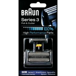 Braun 30B sorozat 7000/4000, SmartControl, SyncroPro, Series 3 fém-fekete szakállvágó szita és kés